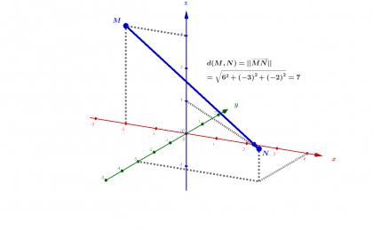 Distance entre deux points de l'espace comme norme du vecteur associé